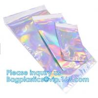 China Bagease Holographic Shinny Mylar bags Eyelash Kit Cosmetic Packaging Bag self-adhesive bag laser hologram neon bags wholesale