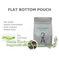 China 100% Bio Bagease Custom Printed Biodegradable Compostable Pla Kraft Flat Bottom Luxury Coffee Beans Pouch Packaging Bags wholesale