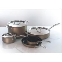 China 28cm 3 Layers Stainless Steel Cooking Pans , Fry Pan With Cast Handle wholesale
