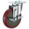 Industrial Steel Heavy Duty Cart Wheels , Red PU Locking Swivel Casters for sale