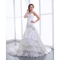 China Elegant Satin halter womens Wedding Dresses with cathedral train , Flower Lace Skirt wholesale