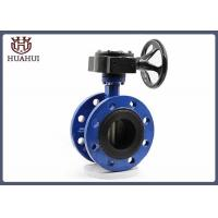 China Black Gearbox DN50 Flanged Butterfly Valve Blue Color For Water System wholesale