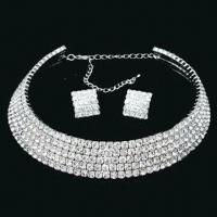 Buy cheap 3/5-line silver jewelry set, ideal for bridal jewelry set, diamond, with choker from wholesalers