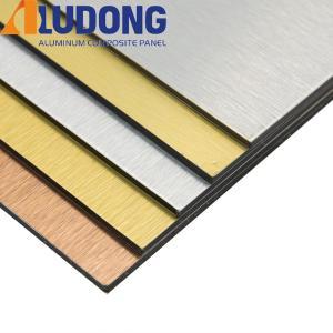 China 3mm Gold Silver Brushed Acm Aluminum Panels Fireproof Core wholesale