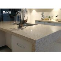 China Beige Glossy Polished Quartz Stone Countertops , Solid Surface Quartz Kitchen Top wholesale