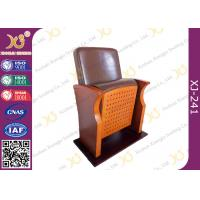 China Brown Leather Low Back Auditorium Seating Chair With Self Weight Retracting Seat wholesale