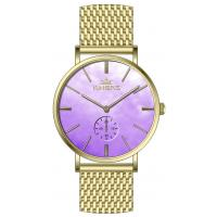 China 36.0mm MOP dial  mesh band  stainless steel watches for women ,dual time luxury wrist steel watch wholesale