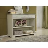 China Rustic White Wood Console Table With Drawers / Two Open Shelves wholesale