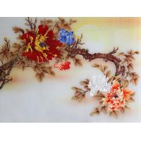 China 3D Wall Colored Opaque Decorative Glass Panels Indoor With Yellow Flowers wholesale