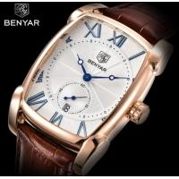 China Wholesale Benyar Men Genuine Leather Band Retro Casual and Business Quartz Wrist Watch BY-5114 wholesale