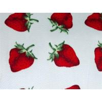 China Red Strawberry Printed Cotton Canvas / Anti Dirt Baby Cotton Fabric wholesale
