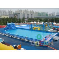 China Dolphin Slide Inflatable Water Park , Metal Steel Frame Inflatable Swimming Pool wholesale