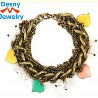 China New fashion women silver plated charm bracelet bangle with gold rose wholesale