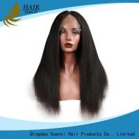 China Black Women Human Hair Lace Front Wigs  Kinky Straight , Thick Lace Frontal Closure 13 x 4 wholesale