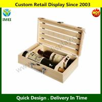 China Wooden Crate 2 Wine Bottle Travel Storage Box Carrying Display Case YM6-086 wholesale