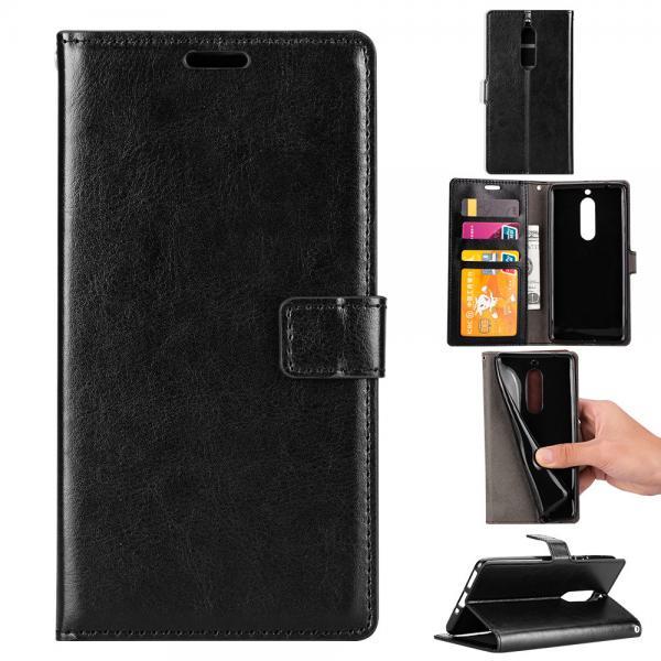 Quality Soft Black Color Slim Crazy Horse Leather Cases Wallet Inside For Nokia 8 for sale