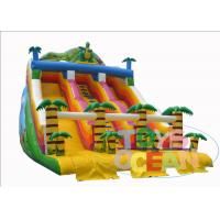 China Tropical Jungle Backyard Inflatable Water Slides Two Lane Coconut Tree Dinosaur wholesale