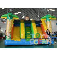 China Jungle Theme Animal Inflatable Slides 3 Lanes Digital Printing EN14960 wholesale