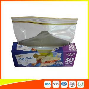 China Supermarket Reuseable Plastic Clear Sandwich Bags Zipper Top 22 * 25cm wholesale