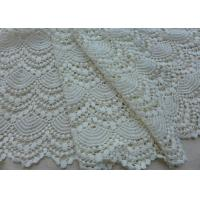 China Vintage French Crocheted Cotton Lace Fabric Scalloped Edge Hollow Out Ivory Dots wholesale