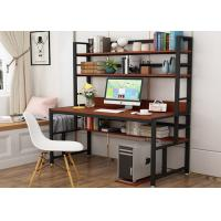 China Office desktop laptop computer desk with shelves, Home study writing table with storage shelves wholesale