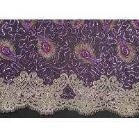 China Elegant Embroidery Beaded Lace Fabric for Garment Trimming CY-XP0010 wholesale