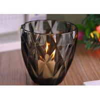 China Coloring Material Wedding Glass Candle Holder With Diamond Design , eco Friendly wholesale