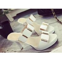 China Slip On High Heels Sandals , Ladies Dress Sandals With Metal Ornament Strap Upper wholesale