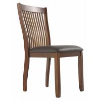 China Dining Side Wooden Dining Room Chairs Comb Back Brown Base And Black Upolstered Seat on sale