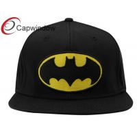 China Leisure Fitted Baseball Caps Pure Acrylic Embroidered Black DC Comics wholesale