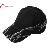 Quality Black Brushed Deluxe Embroidered Baseball Caps with Velcro Closure for sale