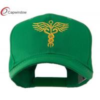Quality Cotton Polyester Fitted Baseball Hats , Medical Caduceus Embroidered Cap for sale