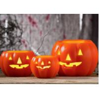 China Led Pumpkin Candle With Yellow Light , Plastic Outdoor Pumpkin Lights wholesale