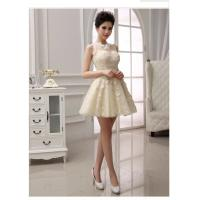 China Lace illusion neckline Short wedding gowns for bridesmaids , lace covered back wholesale