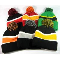 China Fox Fur Women Knit Pom Pom Beanie Keep Warm Embroidered 3D Logo Available wholesale