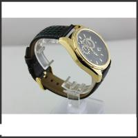 China Durable Big Dial Mens Leather Belt Watches For Sports Auto Date Mineral Glass Material wholesale