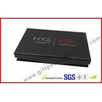 Buy cheap rigid board handmade cosmetic packaging box with mirror, black box with plastic inner logo foil from wholesalers