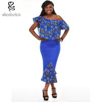 Quality Printed Long Fashion Womens African Clothing , Breathable Sleeveless Printed Dress for sale
