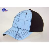 Cotton Black and Light Blue Custom Baseball Caps , Washed Man Baseball Cap