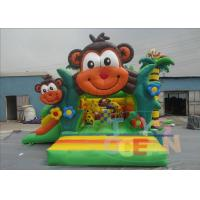 China Lovely Inflatable Bounce House , Jungle Monkey Inflatable Bouncer Castle With Slide wholesale