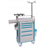 China Hospital ABS Emergency Trolley Equipment Medical With Sliding Side Shelf on sale
