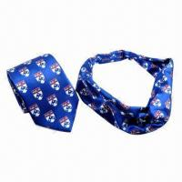 China Polyester Printed Tie with Cravat, Design and Colors Matches, Custom Tie and Cravat on sale