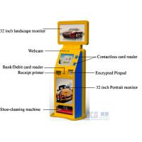 China Shoe-cleaning Machine Free Standing Kiosk Three Screens Only One PC Controls wholesale