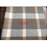 China Hot sale 70% wool 920g/m 610GSM Eco - Friendly Wool 8-11cm Big Plaid Fabric / Tartan caramel wholesale