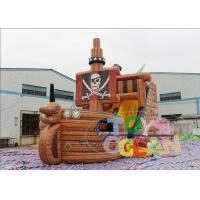 China Giant Inflatable Pirate Boat Bounce Castle With Slide Digital Printing wholesale