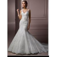 China Strap V Neck custom Made Romantic Lace Wedding Gowns Sweetheart With Flowers wholesale