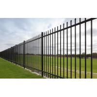 China Narrow Spacing Top Crimped Spear Tubular Steel Fence Garrison Brand 3 Rails 1.83m X 2.95m Powder Coated 100 Microns wholesale