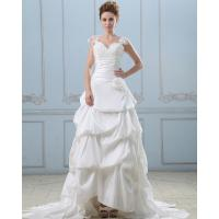 China Girls Lace Cap Sleeve V Neck Long Train Wedding Dresses halter Satin Wedding Gowns wholesale