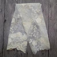 China White Embroidered Mesh Ivory Floral Lace Fabric , 130cm Wide Cotton Lace Dress Fabric wholesale