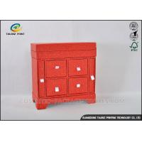 China Red Cabinet Shaped Jewelry Gift Boxes With Large Capacity Jewelry Storage wholesale